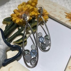 Anthropologie Jewelry - Anthro Silver-tone Pave Crystal Blue Glass